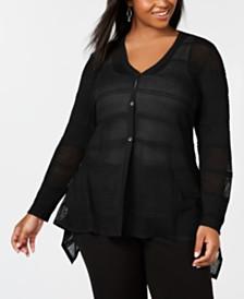 Black by Belldini Plus Size Waterfall Cardigan