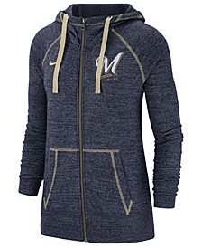 Women's Milwaukee Brewers Gym Vintage Full-Zip Hooded Sweatshirt