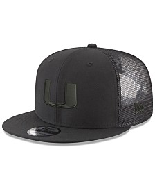 New Era Miami Hurricanes Black on Black Meshback Snapback Cap