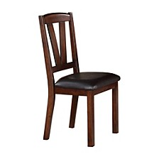 Solid Wood Leather Seat Side Chair - Set Of 2