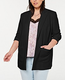 Plus Size Textured Crepe Long Blazer