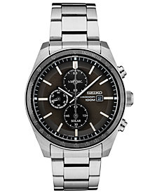 Seiko Men's Solar Chronograph Stainless Steel Bracelet Watch 43.2mm