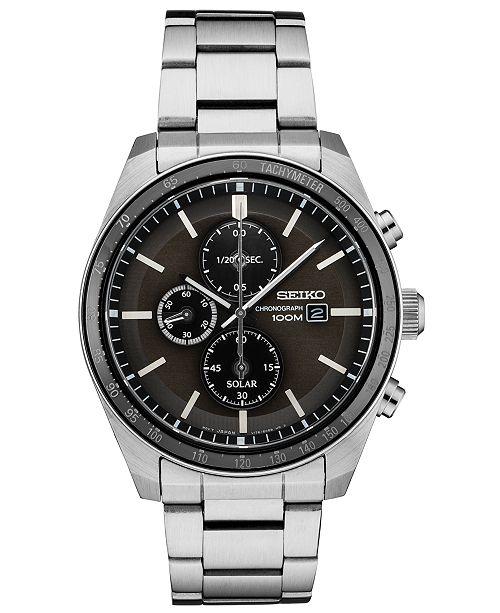 Seiko Men's Solar Chronograph Stainless Steel Bracelet Watch 43.2mm
