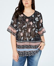 Style & Co Plus Size Printed Pintucked Blouse, Created for Macy's