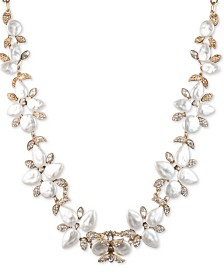 "lonna & lilly Gold-Tone White Stone Collar Necklace, 16"" + 3"" extender"