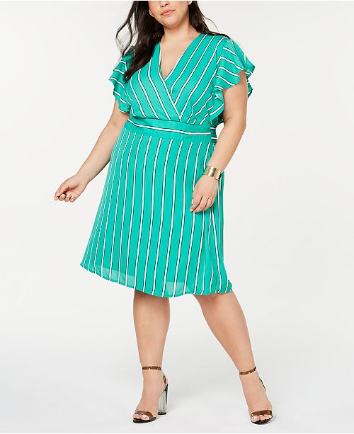 Monteau Trendy Plus Size Striped Flutter Wrap Dress
