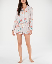 Josie By Natori Lotus Boutique Flower-Print Satin Shirt and Pajama Shorts Set