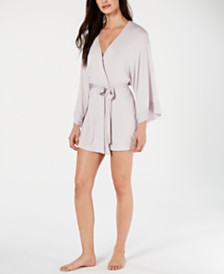 Josie By Natori Sweet Street Satin-Detail Wrap Robe
