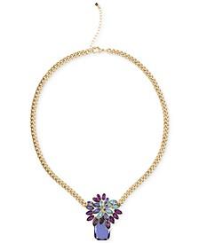 "Gold-Tone Multi-Stone Pendant Necklace, 18"" + 2"" extender"