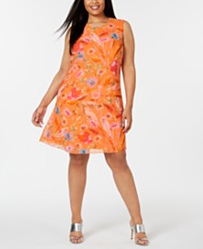 Calvin Klein Plus Size Floral-Print A-Line Dress