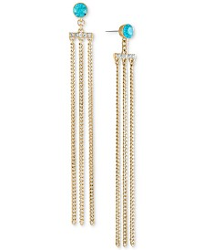 RACHEL Rachel Roy Gold-Tone Crystal Chain Linear Earrings