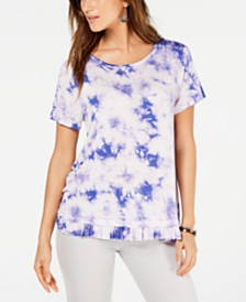 Style & Co Tie-Dye Ruffled-Hem T-Shirt, Created for Macy's