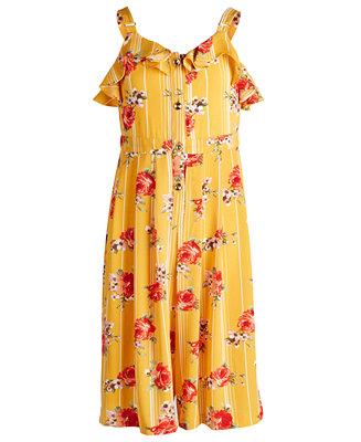 Big Girls Floral Print Gaucho Jumpsuit by General
