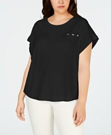 Calvin Klein Plus Size Pocket Dolman-Sleeve Top