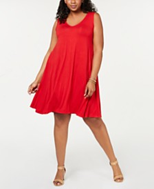 Style & Co Plus Size Solid Crisscross-Back Dress, Created for Macy's