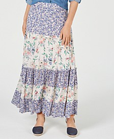 Mixed-Print Tiered Maxi Skirt, Created for Macy's