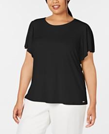 769cc445f62 Calvin Klein Plus Size Ruffled-Sleeve Top