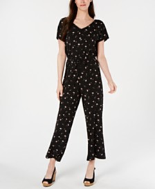 Style & Co Printed Drawstring Jumpsuit, Created for Macy's