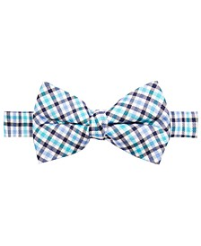 Big Boys Green Gingham Silk Bow Tie