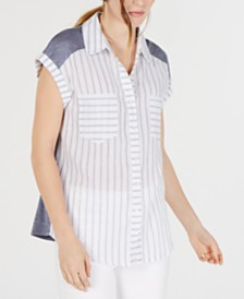 BCX Juniors' Mixed-Media Striped Camp Shirt