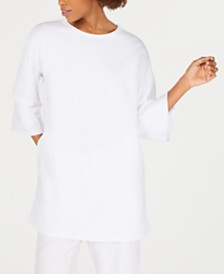 Eileen Fisher Cotton Round-Neck Tunic Top