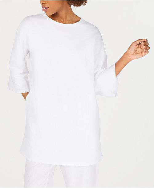Eileen Fisher Cotton Round-Neck Tunic Top
