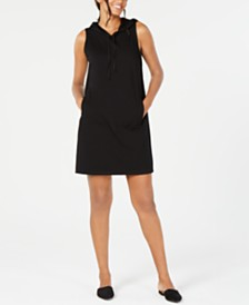 Eileen Fisher Sleeveless Cotton Hooded Dress