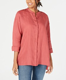 Eileen Fisher Organic Linen Stand-Collar Blouse, Regular & Petite