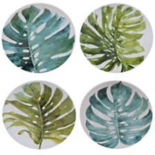 Certified International Palm Leaves 4-Pc. Round Dessert Plate