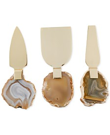Thirstystone Congo Sunset Cheese Knives with Agate Handles. Set of 3