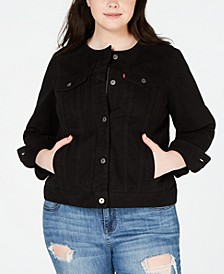 Trendy Plus Size Cotton Denim Trucker Jacket