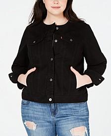 Trendy Plus Size Cotton Denim Trucker Jacket