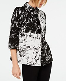 JM Collection Colorblocked Marble-Print Top, Created for Macy's