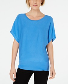 JM Collection Scoop-Neck Dropped-Sleeve Top