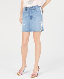 Kendall + Kylie White-Stripe Distressed Jean Skirt