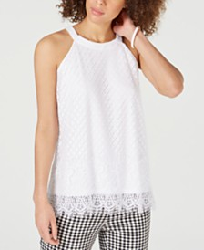 Charter Club Lace Fringe-Hem Top, Created for Macy's