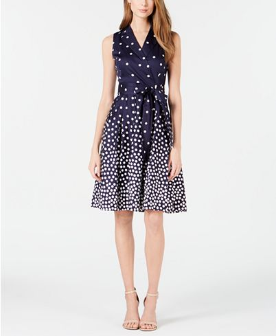 Anne Klein Notch-Collar Dot-Print Belted Dress