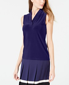 Anne Klein Pleat-Neck Top