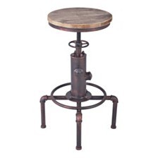 Remy Industrial Adjustable Barstool, Quick Ship
