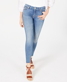 7 For All Mankind Frayed-Hem Skinny Jeans