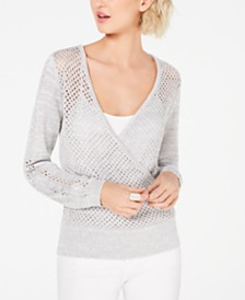 I.N.C. Surplice Pointelle Eyelet Sweater, Created for Macy's