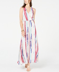 I.N.C. Printed Surplice Maxi Dress, Created for Macy's