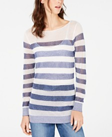 I.N.C. Petite Striped Open-Stitch Sweater, Created for Macy's