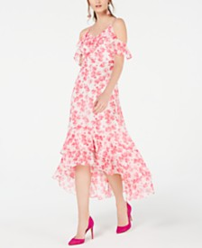 I.N.C. Ruffled Cold-Shoulder Midi Dress, Created for Macy's