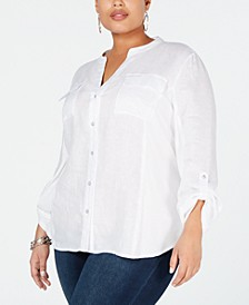 INC Plus Size Split-Neck Button-Up Shirt, Created for Macy's