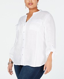 I.N.C. Plus Size Split-Neck Button-Up Shirt, Created for Macy's