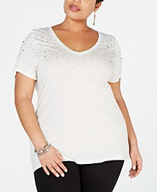 Plus Size Embellished V-Neck Tee, Created for Macy's