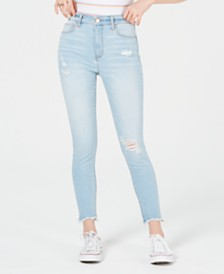 Tinseltown Juniors' Ripped Raw-Hem Skinny Jeans