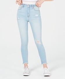 Tinseltown Juniors' Ripped Raw-Hem Skinny Jeans