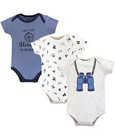 Baby Vision Baby Cotton Bodysuits, Binoculars Short-Sleeve 3-Pack